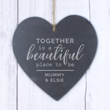 Personalised Together Slate Heart Decoration-Poppy Stop-Poppy Stop