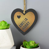 Personalised Couples Gold Printed Slate Heart Decoration-Poppy Stop-Poppy Stop