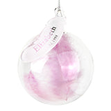 Personalised Name & Date Pink Feather Glass Bauble-PMC-Poppy Stop