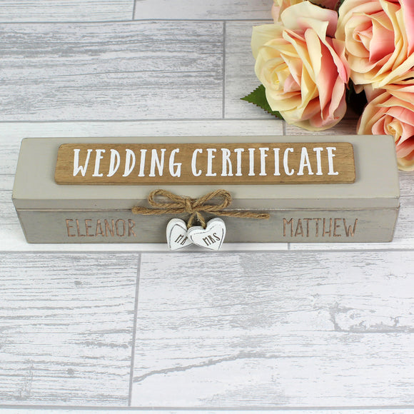Personalised Wooden Wedding Certificate Holder-Poppy Stop-Poppy Stop