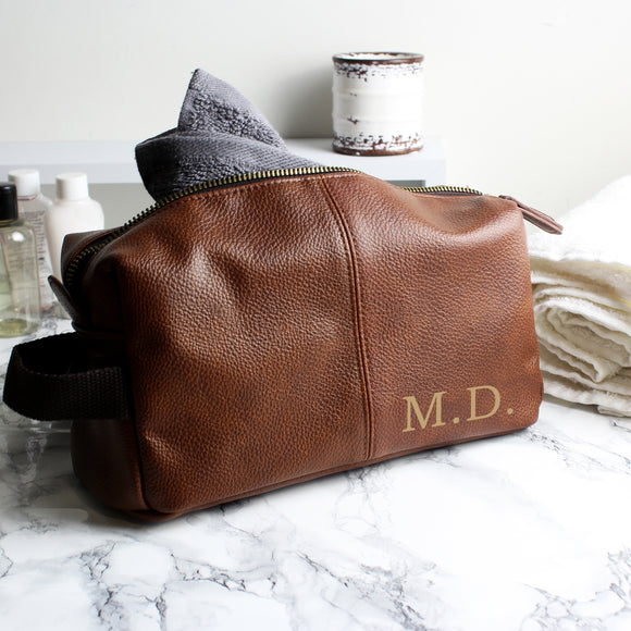 Personalised Luxury Initials Brown Leatherette Wash Bag-PMC-Poppy Stop