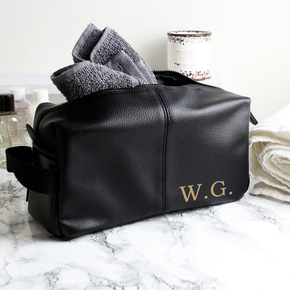 Personalised Luxury Initials Black leatherette Wash Bag-PMC-Poppy Stop
