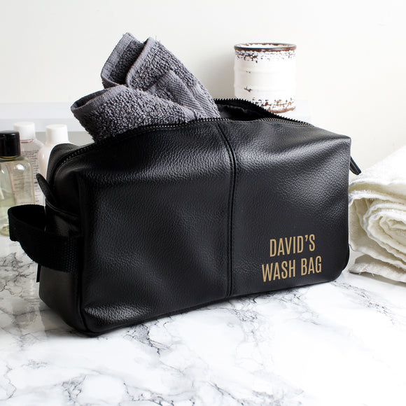 Personalised Luxury Black leatherette Wash Bag-PMC-Poppy Stop