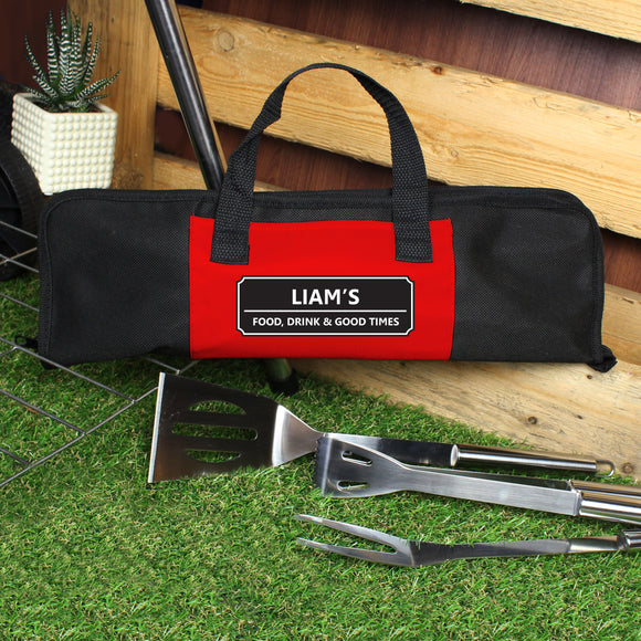 Personalised Classic Stainless Steel BBQ Kit-PMC-Poppy Stop