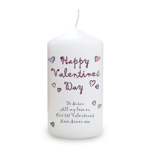Personalised Flowers and Butterflies Happy Valentines Day Candle-Poppy Stop-Poppy Stop