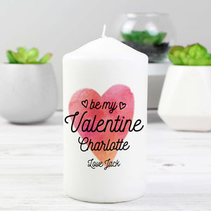 Personalised Be My Valentine Pillar Candle-Poppy Stop-Poppy Stop