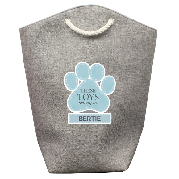 Personalised Blue Paw Print Storage Bag-Poppy Stop-Poppy Stop