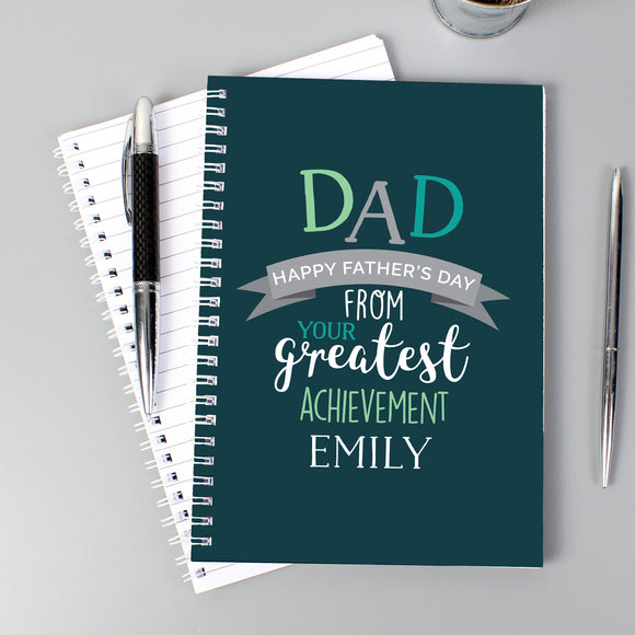 Personalised Dad's Greatest Achievement A5 Notebook-PMC-Poppy Stop