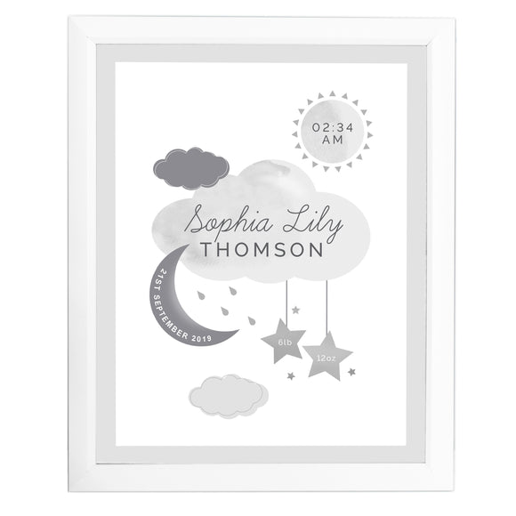 Personalised New Baby Moon & Stars White Framed Print-Poppy Stop-Poppy Stop