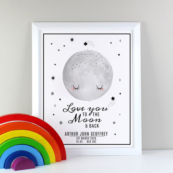 Personalised Baby To The Moon and Back White Framed Print-PMC-Poppy Stop
