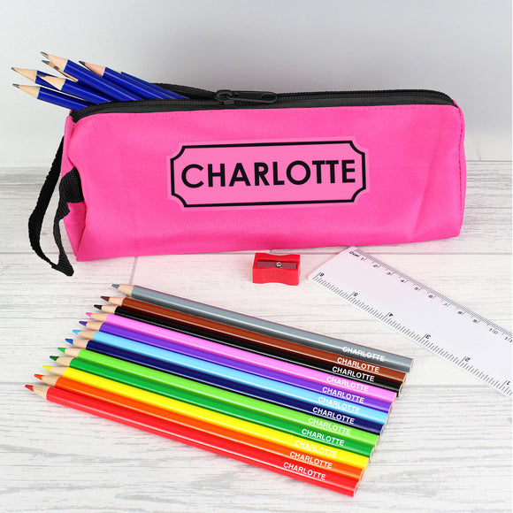 Pink Pencil Case with Personalised Pencils