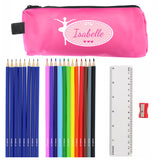 Pink Ballerina Pencil Case with Personalised Pencils