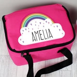Personalised Rainbow Pink Lunch Bag Personalised Rainbow Pink Lunch Bag PMC poppystop.com