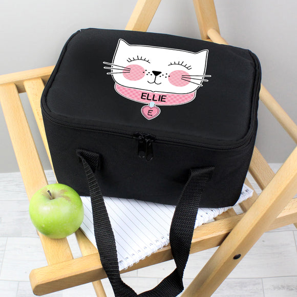 Personalised Cute Cat Black Lunch Bag Personalised Cute Cat Black Lunch Bag PMC poppystop.com