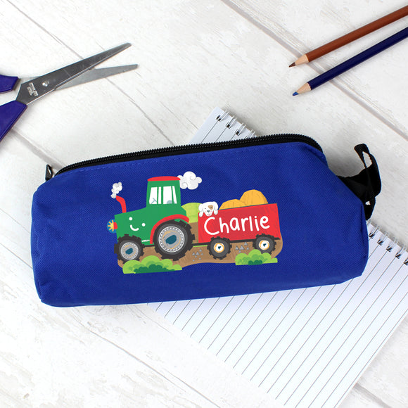 Personalised Tractor Blue Pencil Case Personalised Tractor Blue Pencil Case PMC poppystop.com