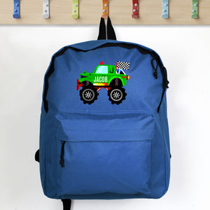 Personalised Monster Truck Backpack - Blue Personalised Monster Truck Backpack PMC poppystop.com