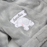 Personalised Elephant 0-6 Months Grey Hooded Baby Dressing Gown
