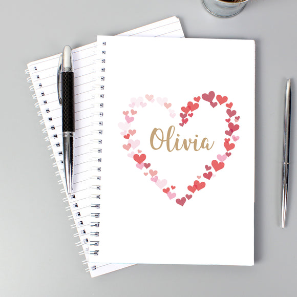 Personalised Confetti Hearts A5 Notebook-Poppy Stop-Poppy Stop