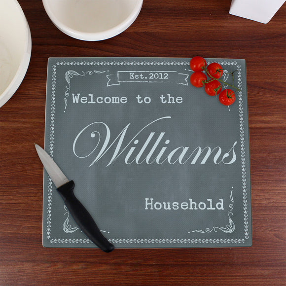 Personalised Family Glass Chopping Board/Workshop Saver