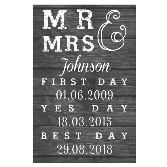 Personalised Mr & Mrs, First Day, Yes Day & Best Day Metal Sign-Poppy Stop-Poppy Stop