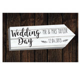 Personalised Wedding Day White Arrow Metal Sign-Poppy Stop-Poppy Stop