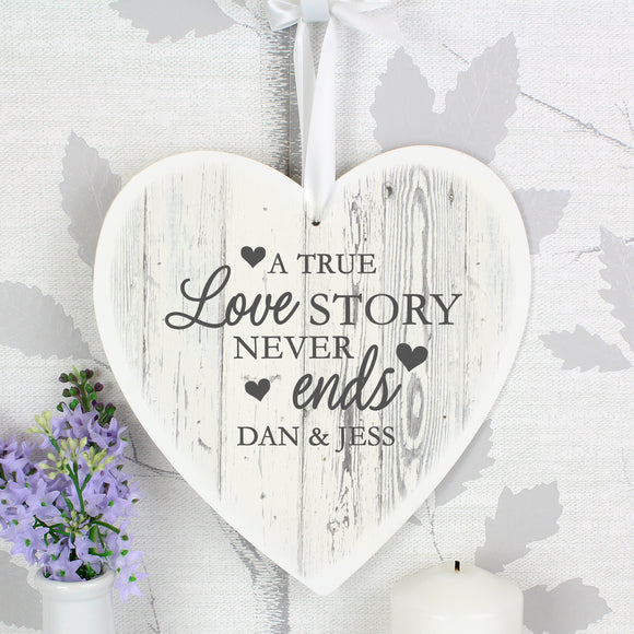 Personalised Love Story 22cm Large Wooden Heart Decoration-Poppy Stop-Poppy Stop