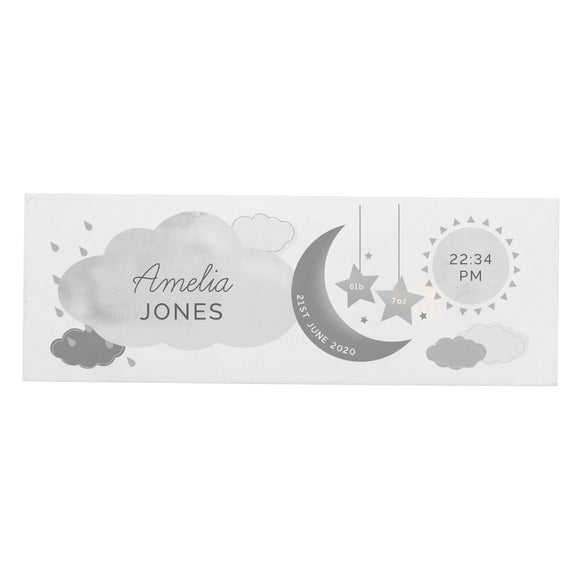 Personalised New Baby Moon & Stars Wooden Block Nursery Sign-Poppy Stop-Poppy Stop