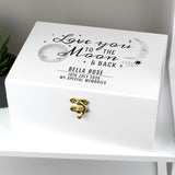 Personalised Baby White Wooden Keepsake Box - To The Moon and Back