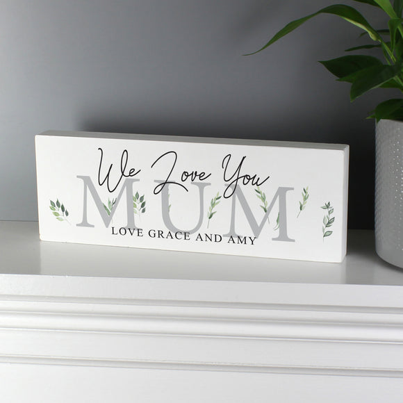 Personalised Decorative Block Sign  - Botanical