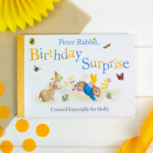 Personalised Peter Rabbit 'Birthday Surprise' Board Book-Signature-Poppy Stop