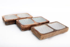 Rustic Wood And Enamel Double Square Snack Bowls 3 Assorted Designs 20cm-Poppy Stop-Poppy Stop