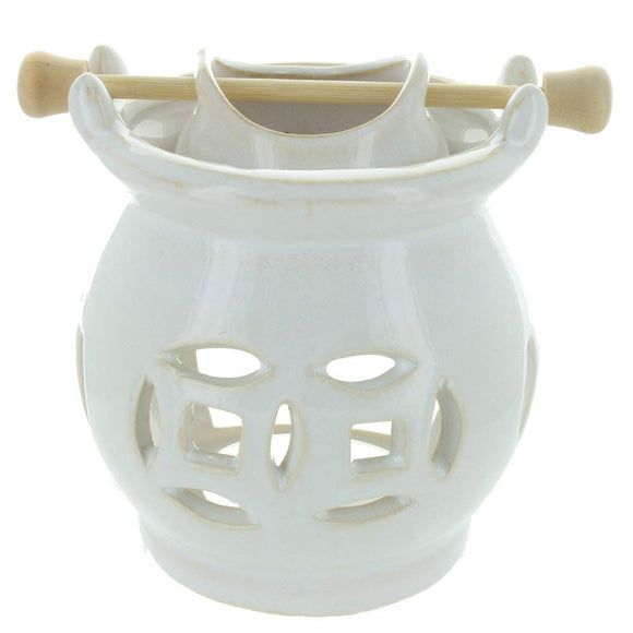 WHITE HANGING BOWL OIL BURNER-Poppy Stop-Poppy Stop