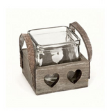 Single Wooden Heart Tray Candle Holder.-Poppy Stop-Poppy Stop