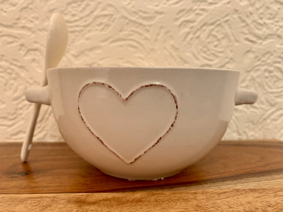Shabby Chic Heart Bowl & Spoon Set-Poppy Stop-Poppy Stop