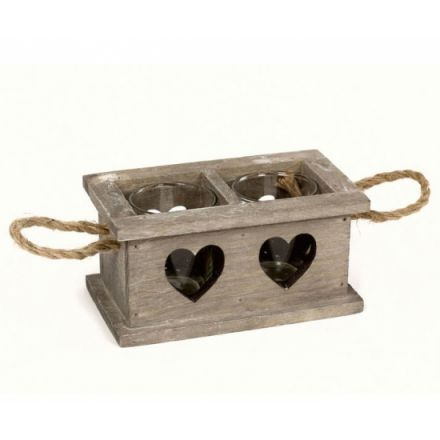Wooden Tealight Holder - 2 Space - Heart Design-Poppy Stop-Poppy Stop
