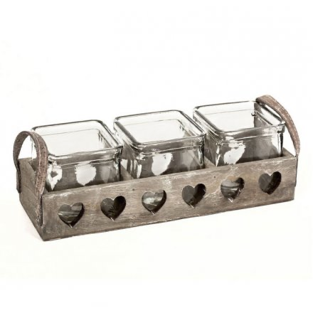 Chic Rustic Wooden Heart Tray with 3 Glass Candle Holders / plant / Herb Pots.-Poppy Stop-Poppy Stop