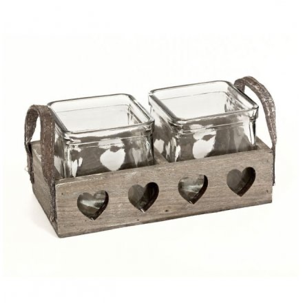 Double Wooden Heart Tray Candle Holder-Poppy Stop-Poppy Stop