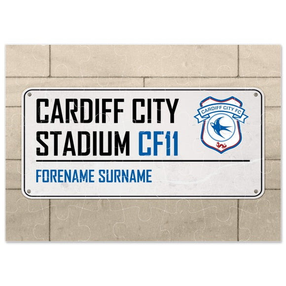 Cardiff City FC Street Sign Jigsaw-Poppy Stop-Poppy Stop