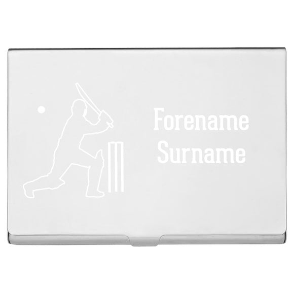 Personalised Cricket Business Card Holder-Poppy Stop-Poppy Stop