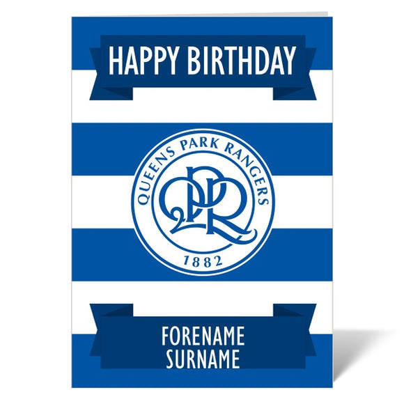 Queens Park Rangers FC Crest Birthday Card-Poppy Stop-ITP_GC_A4_UK-Poppy Stop