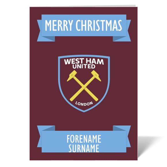 West Ham United FC Crest Christmas Card-Poppy Stop-Poppy Stop