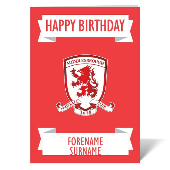 Middlesbrough FC Crest Birthday Card-Poppy Stop-ITP_GC_A4_UK-Poppy Stop
