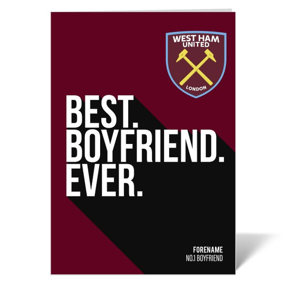 West Ham United FC Best Boyfriend Ever Card-Poppy Stop-Poppy Stop