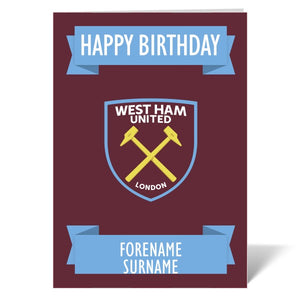West Ham United FC Crest Birthday Card-Poppy Stop-Poppy Stop