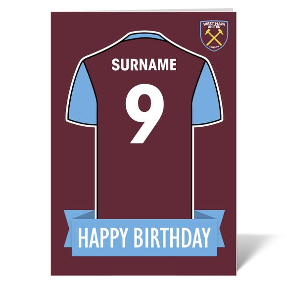 West Ham United FC Shirt Birthday Card-Poppy Stop-Poppy Stop