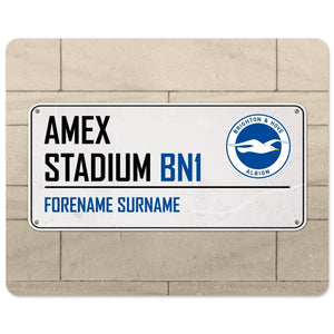 Brighton & Hove Albion FC Street Sign Mouse Mat-Poppy Stop-Poppy Stop