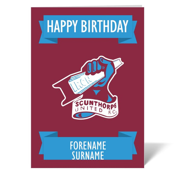 Scunthorpe United FC Crest Birthday Card-Poppy Stop-ITP_GC_A4_UK-Poppy Stop