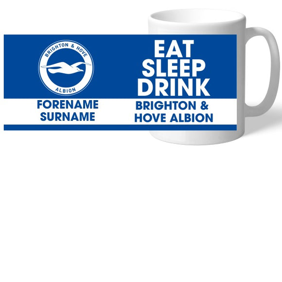 Brighton & Hove Albion FC Eat Sleep Drink Mug-Poppy Stop-Poppy Stop