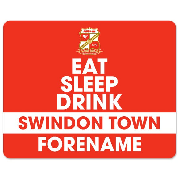 Swindon Town Eat Sleep Drink Mouse Mat-Poppy Stop-Poppy Stop