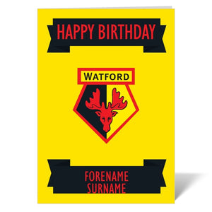 Watford FC Crest Birthday Card-Poppy Stop-ITP_GC_A4_UK-Poppy Stop
